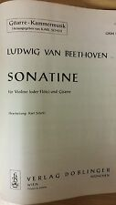 Beethoven: Sonatine: For Violin Or Flute And Guitar: Music Score (D1)