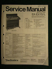 Technics Electronic Organ Service Manual SX EX15 15L Wiring Schematics Part List