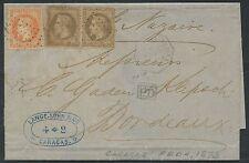 Maritime France Rare sur Empire lettre Caracas 1873 Càd octo LA GUAYRA /Bordeaux