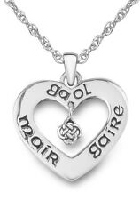 LIVE, LAUGH, LOVE HEART SHAPED PENDANT WITH GAELIC EMBOSSING MAIR, GAIRE, GAOL
