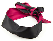 Pink & Black Silk Eye Mask Bondage Belt Sex Blindfold Restraint BDSM Adult Party
