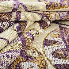 Purple Beige Floral Inspired Leaf Design Soft Woven Chenille Upholstery Fabric