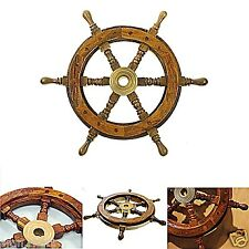 """Vintage Boat Ship Steering Wheel 12"""" Brass Wooden Decor Nautical Pirate Antique"""