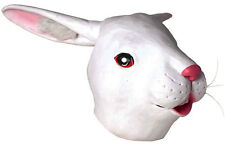 ADULT WHITE EASTER BUNNY RABBIT LATEX MASK HARE FARM ANIMAL COSTUME MASKS