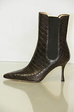 $5950 NEW MANOLO BLAHNIK Toialo Brown ALLIGATOR Crocodile Ankle BOOTS SHOES 35.5