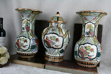 Set 3 pottery Petrus regout Vases Set birds floral decor marked  Delft decor