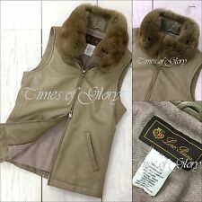 Rare Loro Piana Chinchilla Fur Collar Lambskin Leather Vest Gilet Jacket IT38 XS