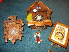 3 Vintage Mini  Cuckoo Clocks Includes hummel clock,unused in box...germany
