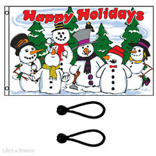 Christmas Flag. Happy Holidays Flag Snowmen 5x3ft.With FREE BALL TIES