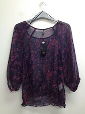b.young - Navy Mix Floral Sheer 3/4 Sleeve Top Size Uk 10 (U112) BNWT
