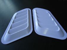 CAR HOOD SIDE FENDER AIR FLOW SCOOP DECORATION VENT COVER WHITE X 2 PIECES