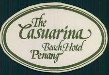 CASUATINA BEACH Hotel old luggage label PENANG Malaysia Asia Sticker
