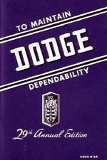 Factory Owner's Manual for 1946-1948 Dodge D-24 Passenger Cars