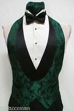 Boys Small Hunter Green Paisley Backless Tuxedo Vest & Bowtie Cheap Vintage