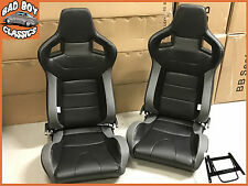 Pair BB6 Reclining Bucket Seats Black / Grey + Adaptors LANDROVER DEFENDER