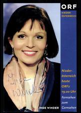 Inge Winder ORF Autogrammkarte Original Signiert ## BC 25874