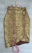 HOUSE OF CB CELEB BOUTIQUE gold brown  XS BANDAGE skirt 4 6 limited edition new