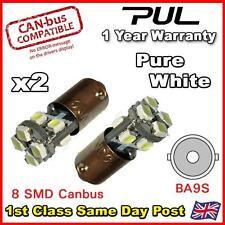 2x 8 SMD ERROR FREE CANBUS LED PURE WHITE SIDE LIGHT BULB 233 T4W BA9S BAYONET