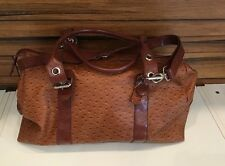 Large  BROWN FAUX LEATHER OVERNIGHT TRAVEL DUFFLE BAG LARGE PURSE TOTE EUC