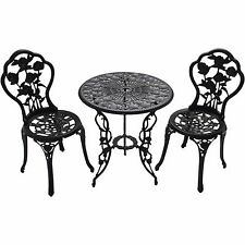 Oakland Outdoor Chairs & Table 3pcs Cast Iron Bistro Set Patio Furniture NEW