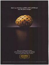 Original 1984 Johnnie Walker Black Label Scotch Faberge Egg Vintage Print Ad