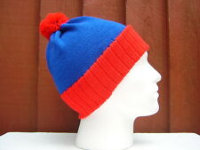BOBBLE HATS 100% ACRYLIC ADULT  RED / ROYAL BLUE - LIKE  STAN SOUTH PARK STYLE