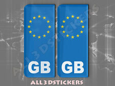 2x3D Sticker Resin Domed Euro GREAT BRITAIN Number Plate Car Badge Adhesive