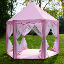 Pink Princess Castle Play House Children Fun Netting Outdoor Kids Play Tent