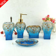 5pcs Blue Bath Accessories Sets Bathroom Soap Holder Toothbrush Cup Soap Dish