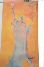 PETER MAX POSTER - ORANGE STATUE OF LIBERTY  COOL AND COLORFUL-FACSIMILE SIGNED