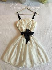 NWT! GINGER & SMART White/Black Soft Silk/Cotton Full Sweet Pocket Dress SZ-10