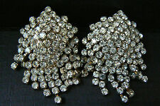 VTG PAIR OF SILVER TONE METAL DANGLE CLEAR CRYSTAL RHINESTONE SHOE CLIP CLIPS