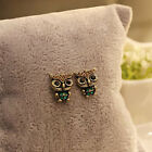 Fashion Women Lady Girl New Style Owl Rhinestone Cute Vintage Ear Stud Earrings