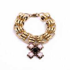 B1220 Vintage Gold Chunky Chain Link Pink Cross Charms Pendant Charm Bracelet