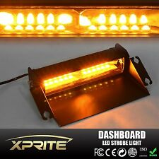 Amber Yellow 12 LED Dash Dashboard Windshield Emergency Flash Strobe Lights