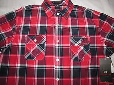 NWT Men's Enyce Regular S/S Button Front 3XL  Hot Buy $44 - Red Black