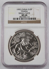 1992 China 1 Oz 999 Silver Panda 10 Yuan Coin NGC MS68 Choice BU+ Small Date