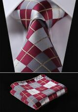 TC4033U8 Burgundy Gray Check Silk Men Tie Necktie Hanky Handkerchief Set