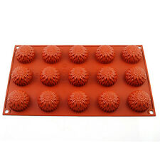 15-Cavity Sunflower Silicone Mold Tray Cake Chocolate Cookie Muffin Baking Pan