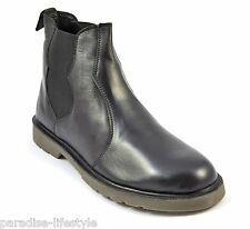 Mens Leather Chelsea Boots Black Shoes Rubber Sole New Top Free Delivery Size 9