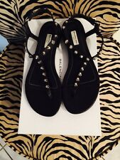 BALENCIAGA  Studded Leather T-strap Sandal SIze 39.5 Black
