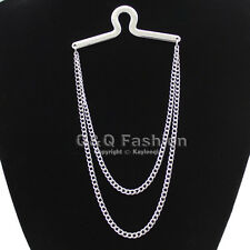 Trendy Silver Double Loop Link Tie Chain Button Hole Men Jewelry Costume Top