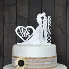 Personalized Wedding Cake Topper, Acrylic silver glitter, personalized last name