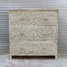 MADE TO ORDER Carved hard wood chest of drawers dresser tallboy whitewash 90cm