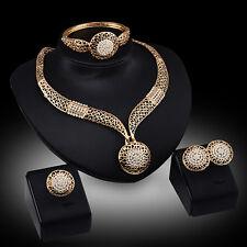 Women Hot Trendy Wedding Party Rhinestone Necklace Bracelet Ring Earrings Set