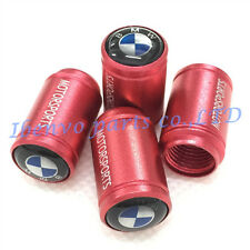 Aluminum Red Matting Car Wheel Tyre Tire Stem Air Valve Cap Accessory For BMW