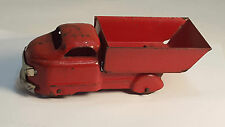 "Vintage Antique PRESSED STEEL 7"" Overall Toy Red DUMP TRUCK Works Well Very Nice"