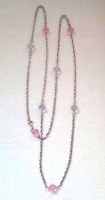 """VINTAGE SARAH COVENTRY NECKLACE LAVENDER & PINK CRYSTAL BEADS SILVER 52""""  CHAIN"""