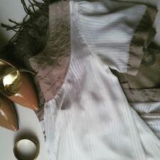 To the Max Women's Sz 4 Sheer White & Tan Mini A-Line Shift Dress Tunic Top