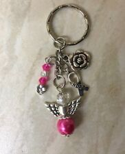 Deep Pink Guardian Angel Keyring With Cancer Awareness Hope Ribbon & Rose Charms